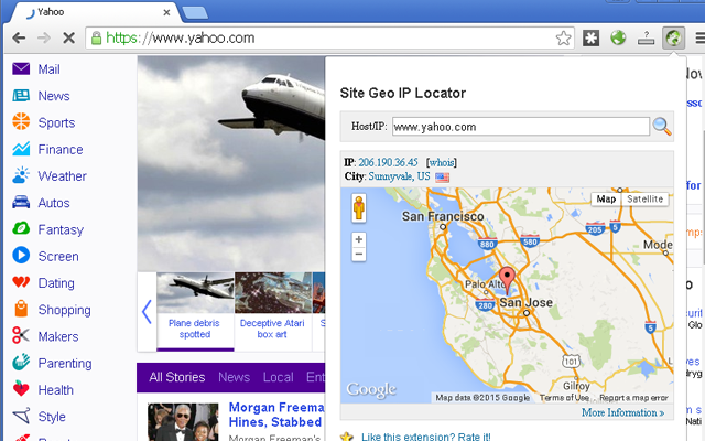 The screenshot of Site Geo IP Locator Extension